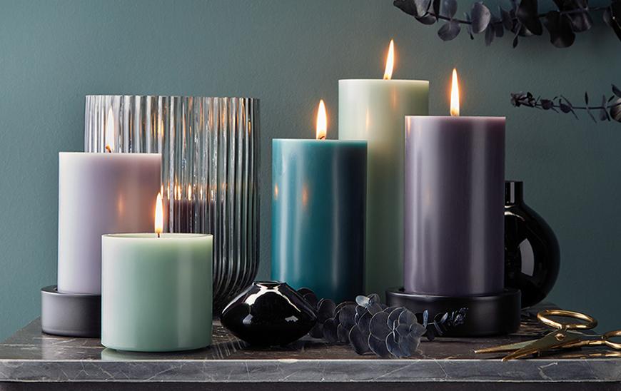 Engels Kerzen Stumpenkerze 12cm gegossen durchgefärbt lange Brenndauer seide